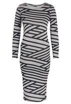London Hub - Geometric Stripe Tube Dress Grey