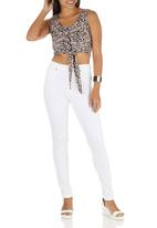 STYLE REPUBLIC - Ditsy-printed Sleeveless Tie Top Coral
