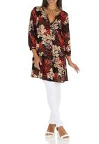 edit - Floral Drop Waist Tunic Brown/Black
