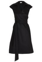 edit - Structured Wrap Dress Black