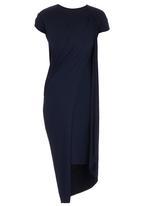 TART - Cap-sleeve Cape Drape Dress Navy