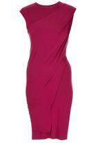 TART - Knit Dress with Shoulder Twist Detail Magenta