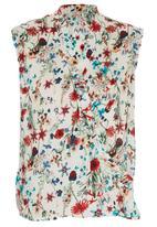 edit - Floral Print Cross-over Blouse Multi-colour