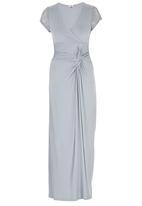 ELIGERE - Lace Shoulder Front Knot Dress Silver