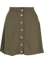 c(inch) - Front Button Mini Skirt Mid Green