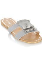 Daniella Michelle - Fringe Slip on Sandals Silver