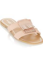 Daniella Michelle - Fringe Slip on Sandals Neutral