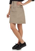 c(inch) - Midi A-line Skirt Camel/Tan