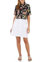 c(inch) - Mid A-line Skirt White