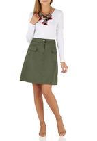 c(inch) - Midi A-line Skirt Dark Green