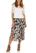 STYLE REPUBLIC - Floral-print pleated midi skirt Black/White