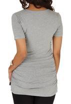 Cherry Melon - Side Gauge Short Sleeve T-shirt Pale Grey