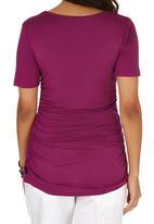 Cherry Melon - Side Gauge Short Sleeve T-shirt Dark Pink
