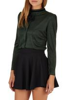Suzanne Betro - Suede Blouse with Brooch Green Dark Green