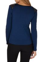 Game of Threads - Pleather Inset Top Cobalt