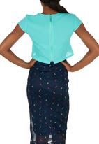 c(inch) - Blouse with  Square Detail Light Green Light Green