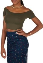 Shoez Group - Off the shoulder cropped tank Dark Green