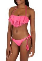 KANGOL - Cut Out Bandeau Bikini Set Mid Pink
