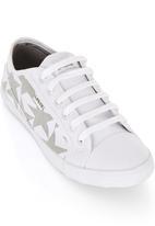 Spree Designer - Denim Star Print Low Cut Sneakers Grey