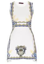 London Hub - Celeb Printed Skater Dress White