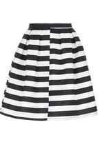 London Hub - Monochrome Striped Midi Skirt Black