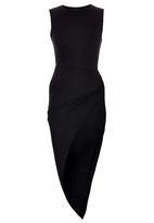 London Hub - High Neck Asymmetric Drape Dress Black