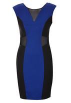 London Hub - Panelled Bodycon Dress Dark Blue
