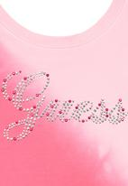 GUESS - Rhinestone Branded Crop Top Mid Pink
