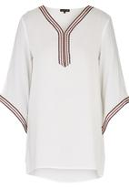 G Couture - Tunic with Embroidered Tape Milk