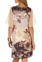 Cheryl Arthur - Da Vinci Ceiling Digital Print Dress Mid Brown