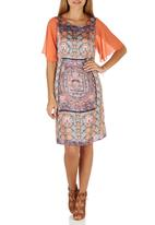Cheryl Arthur - Mandala Persian Digital Print Dress Coral