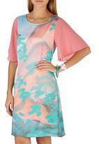 Cheryl Arthur - Pastel Mountain Landscape Digital Print Dress Pale Pink