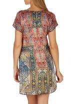 Cheryl Arthur - Persian Print Digital Print Dress Red