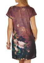 Cheryl Arthur - Old Masters Painting Digital Print Dress Dark Brown