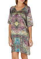 Cheryl Arthur - Persian Print Digital Print Dress Dark Purple