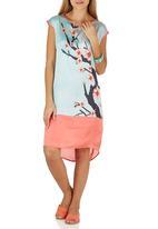 Cheryl Arthur - Seafoam Cherry Blossom Digital Print Tunic Coral