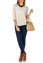 G Couture - Embroidered Boho Top Stone/Beige