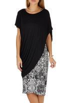 Jo Champ - Two-piece Drape Dress Black and White