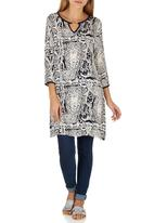 G Couture - Tunic with Gold Bar Blue and White