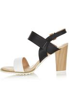 Diva - Colour Block Stack High Heels Black and White