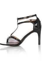 Diva - Mesh Double Strap Open Toe Heels Black