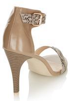 Awol - Snake Skin Ankle Strap Heels Neutral