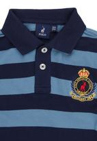 POLO - Warren Crested Striped Golfer Mid Blue  Mid Blue
