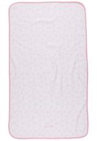 Phoebe & Floyd - Reversible blanket with pindot and floral print Pale pink
