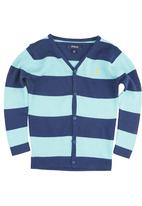POLO - Connor Stripe Cardigan Navy