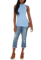 c(inch) - High Neck Top Pale Blue