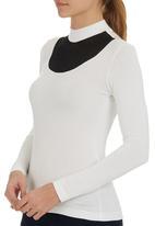 STYLE REPUBLIC - High-neck Inset T-shirt Milk