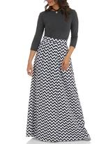 c(inch) - Printed maxi skirt Black and White