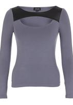 c(inch) - T-shirt with Leather-look Inset Grey