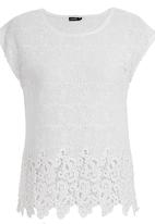 G Couture - Lace-edged Top Milk